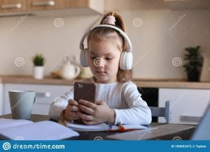 a girl using smartphone for online studies